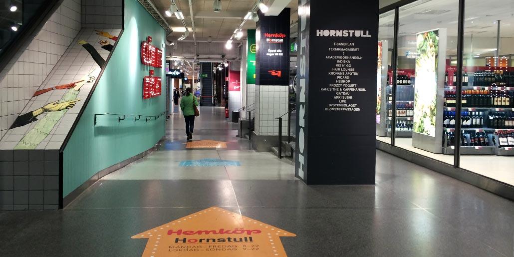 Ramp och ledstråk i Hornstull galleria