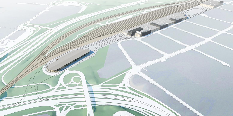 Arkitektritad flygbild från söder på spårvagnsdepån Ringön