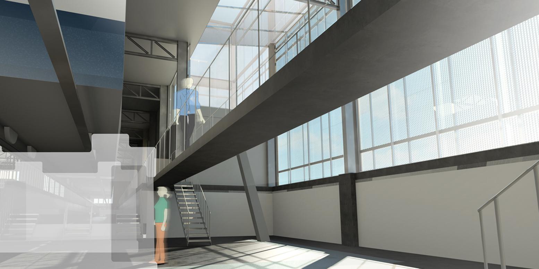 Arkitektritad bild på svarvgropen i spårvagnsdepån Ringön